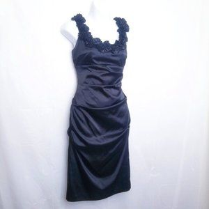 Le Chateau Ruched Dress W/ Ruffle Strap
